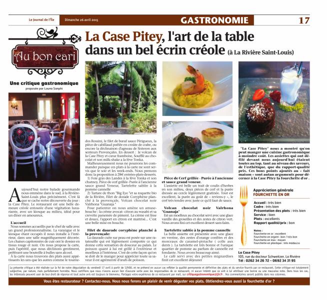 Article Journal de l'Ile dimanche 26 avril 2015