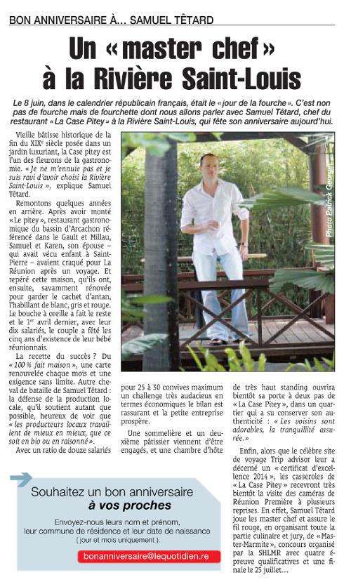 Un «master chef» à la Rivière Saint-Louis, Le Quotidien 8 juin 2015, article Stéphanie Buttard