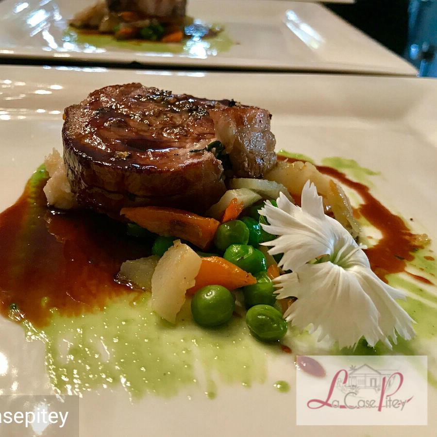 Selle d'agneau printanière de légumes jus au thym